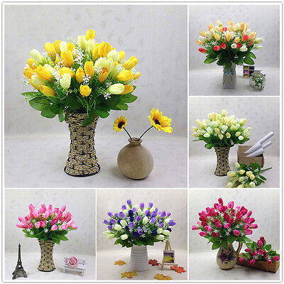 15 Heads Tulip Artificial Silk Flower Wedding Bouquet Bridal Party Home Gift DIY