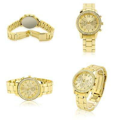 Gold With A Drill Wrist Watch Bracelet Crystal Diamond Women Stainless Steel