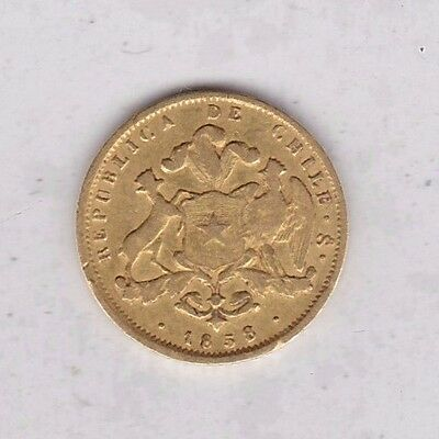 Chile 1858 Gold Two Pesos Coin In Good Fine Condition