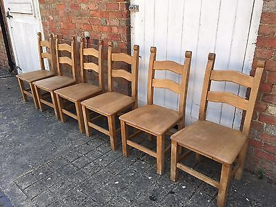 Set of 6 Farmhouse Pine Ladderback Dining Chairs.