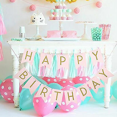 Creative Pastel Happy Birthday Bunting Garland Gold Letters Party Hanging Banner