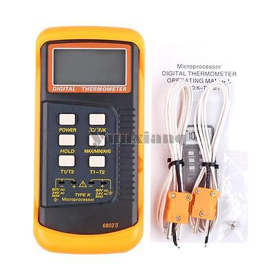 Digital Channel 2 K-Type Thermometer Thermocouple Sensor w/ Probe 1300°C 2372°F