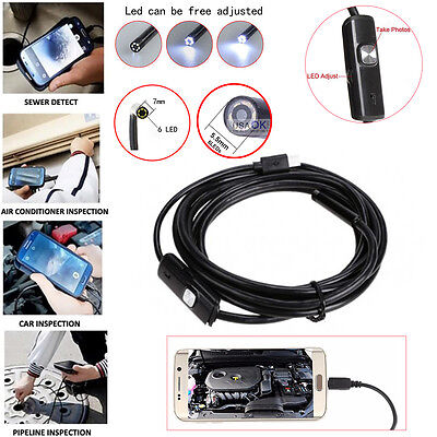 Android Endoscope Waterproof Snake Borescope USB Inspection Camera Video 6 LED