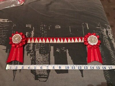 Quality Horse Showing Show Brow Band Full Size Red White Gold
