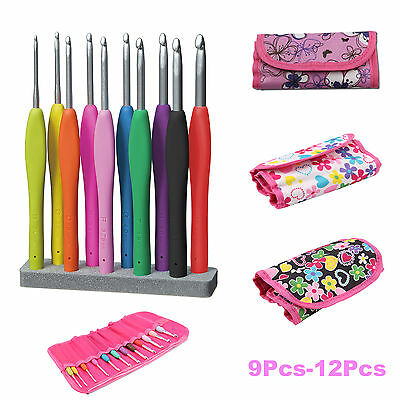 Crochet Hook Set Soft Grip Handles Knitting Needles Multi Colour Aluminum 9P-12P