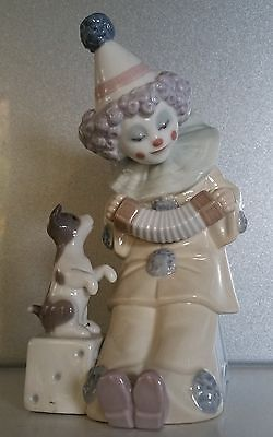 LLADRO Pierrot with Concertina 5279 Clown playing accordion & puppy dog