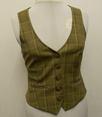 L556 Next Women's Checked Beige Waistcoat Size 12 Uk