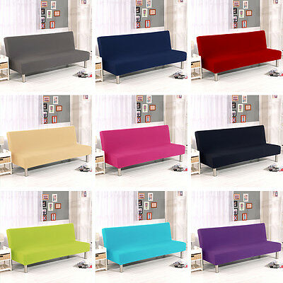 Solid Color Folding Armless Sofa Futon Cover Furniture Protector Couch Slipcover
