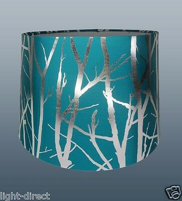 """Teal Blue Lampshade Tree Branch Effect 11"""" Empire Drum  Ceiling Table Lamp Shade"""