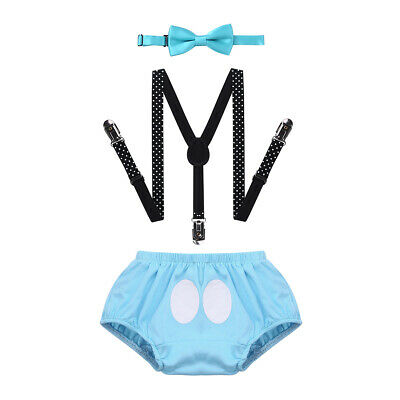 Newborn Baby Boy Birthday Party Cake Smash Outfits Bottoms+Bowtie Set Photo Prop