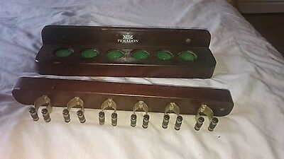 Mahogany Cue Rack with Brass Clips for 6 Cues