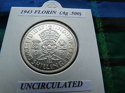 UNCIRCULATED? 1943 FLORIN  (Silver .500)  George VI