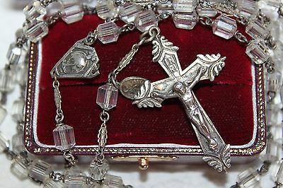 """22.5"""" ANTIQUE Vtg STERLING CRYSTAL / Glass Bead RELIEF SPACERS Catholic ROSARY"""