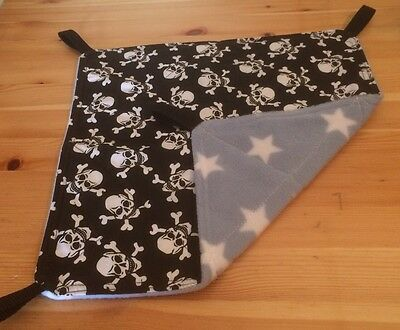 New Flat Fully Quilted Hammock For Rats+small Animals. SKULLS + STAR FLEECE