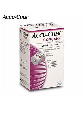 Accu Chek Compact Test Strips  50+1 Test Strips  Genuine In Sealed Box Sale