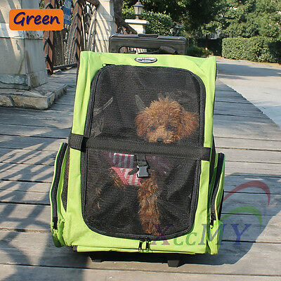 Pet Trolley Carrier Cat Puppy Dog Backpack Travel Bag Stroller Luggage Wheels UK