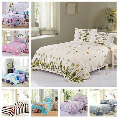 Floral Color Flat Sheet Twin Full Queen King Comfort Cotton Bed Sheet 5 Size New