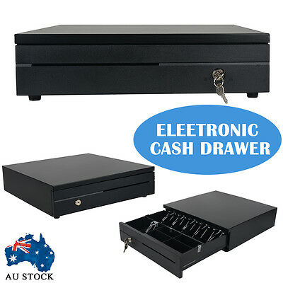 Electronic Cash Draw Box Drawer Lockable POS Shop Office Sale Bills Coins