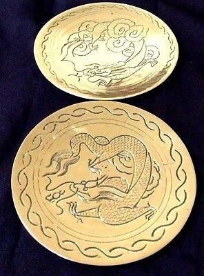 Lovely Antique 1930's Chinese Heavy Brass (Dragon Etched) 2 Wall Plaques 10 Cm