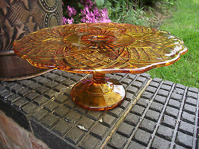Cake Stand Art Deco Amber Glass - Bagley ? With Pedestal Vintage Retro