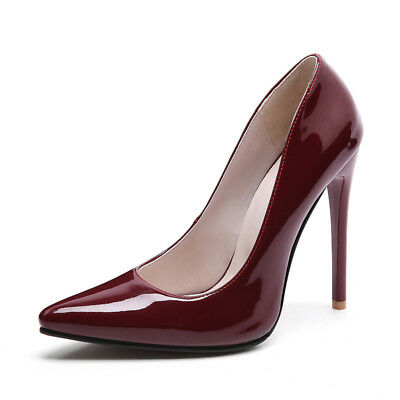 Womens High Heels Patent Leather Pointed Toe Pumps Party Shoes AU Size 2.5-13