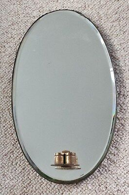 Vintage Antique C1920's 1930's Oval Wall Hanging Mirror With Twin Candle Holders