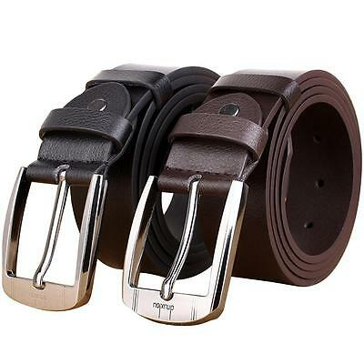 LUXURY Leather Belt Mens Casual Waistband Metal Pin Buckle Waist Strap Business.