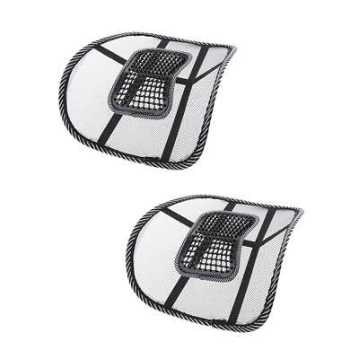 2x Universal Car Office Home Mesh Vent Seat Back Lumbar Support Cushion Pads