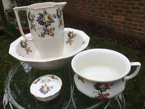 Vintage Lord Nelson Ware BCM Washbowl, Jug, Chamber Pot, Soap Dish