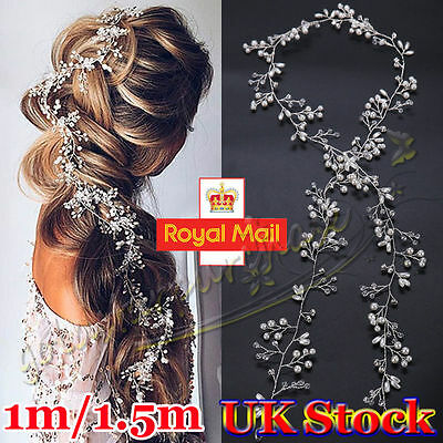 Vintage Boho Hair Vine Wedding Headband Hairband Bridal Gold Silver Crystal