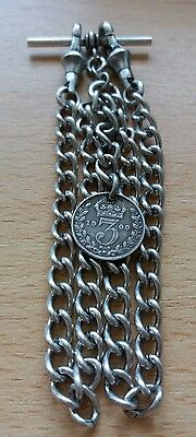 1900 Victoria Threepence Coin Fob Antique Silver Style Double Pocket Watch Chain