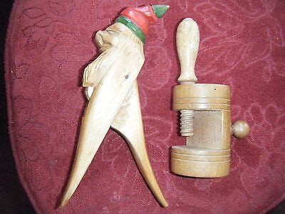 Two Vintage Wooden Nut Crackers