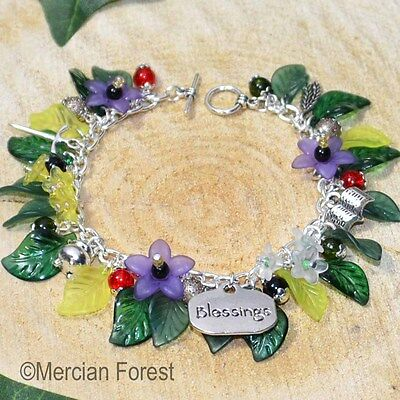 The Hedgewitch Pagan Bracelet - Handmade Witch Jewellery, Flowers, Nature