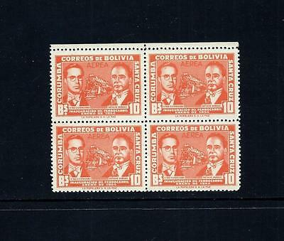 BOLIVIA _ 1954 'UNISSUED RAILWAY' BLOCK of 4 _ mnh ____(484)