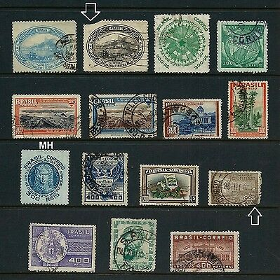 BRAZIL _ 1937-38 'VARIOUS' 15 _ mh-used ____(484)