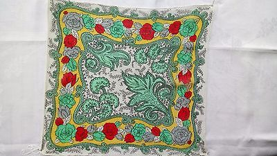 Ladies vintage handkerchief.  Approx 1940s green with red and yellow.