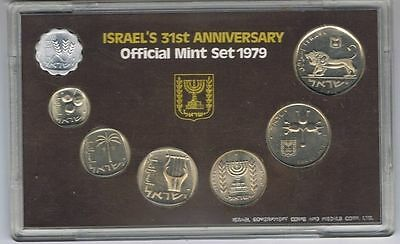Israel 1979 Official Mint Set 7 Coins Original Coa Case And Package
