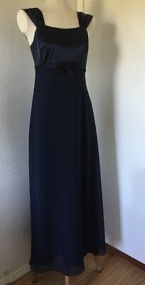Papell Boutique Womens Gown blue Satin & sheer Bow Mother Of The Bride Wedding