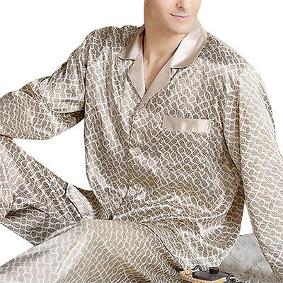 Men's Luxury Silk Pajamas Loungwear Set Long Plus + Night Sleeve Satin Sleepwear