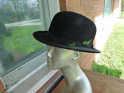 mens Vintage Black DOBBS HAT 7 1/4 Fedora w/ Feather Fifth Avenue