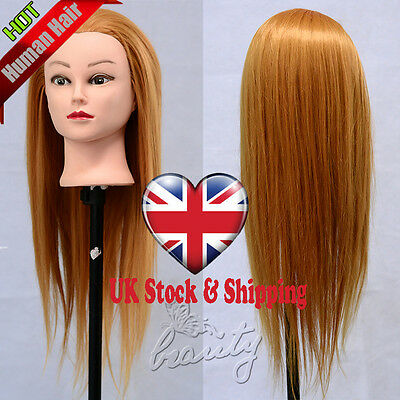 "22"" Salon Hairdressing Styling 30% Real Human Hair Training Head Mannequin Doll"