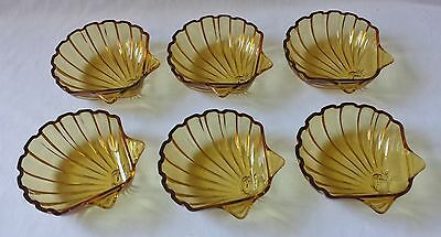 Beautiful Set Of 6 Vintage C1950S Amber Glass Scallop Shell Shaped Dessert Bowls