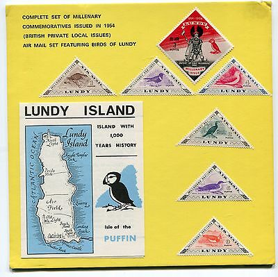 GB Lundy Island: 1954 set Air Mail Millenary stamps Presentation Pack MNH AN106