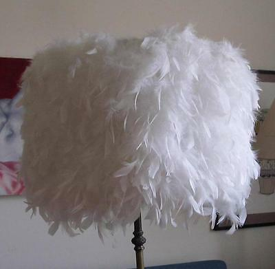 New NEVER USED White Feather Large DRUM 400mm Lamp SHADE ONLY P/U West Footscray
