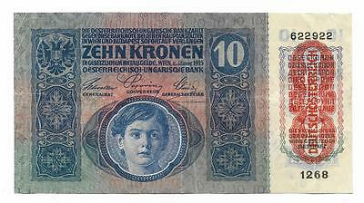 10 kronen Austria banknote,ND(1915),P-51a  Overprinted in red, WWI - F-VF