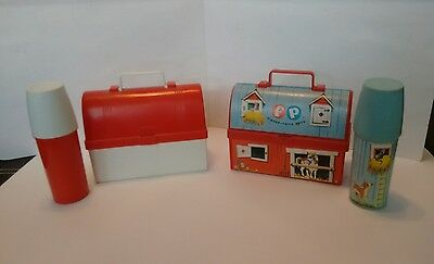 Fisher Price Mini Lunch Boxes ( 2 Barns) W/ Thermos