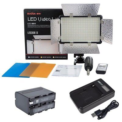 Godox LED308W II 5600K Camera Video Light with 6000mAh Battery & LCD USB Charger