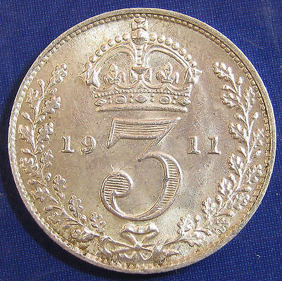 1911 3d George V Flat Neck Rev A silver Threepence in a cracking grade
