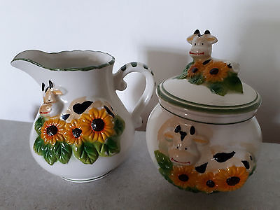 Vintage Retro White Milk Jug And Sugar Bowl With Cow Sunflowers Design