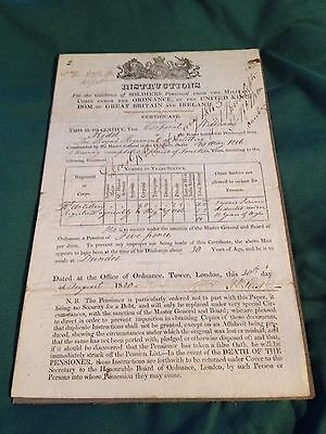 Rare Military Document 1812 ( Royal Artillery ) Scottish connection